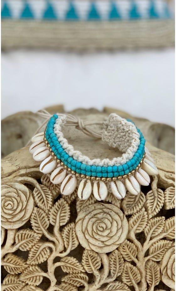 Bracelet De Cheville Rama Bleu Turquoise