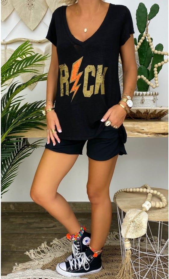 T-Shirt Elio MC Lin Noir Rock Flash Orange Fluo