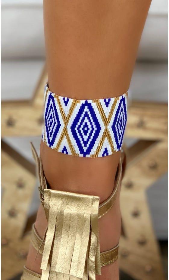 Bracelet Manchette Aztek Bleu Electrique