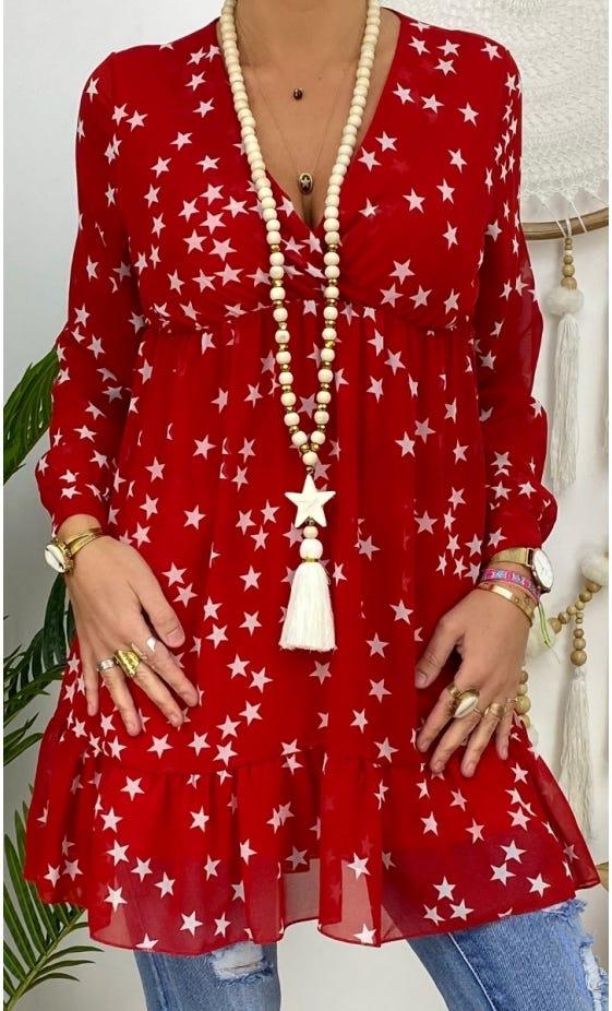 Tunique Stella Rouge Star Blanc
