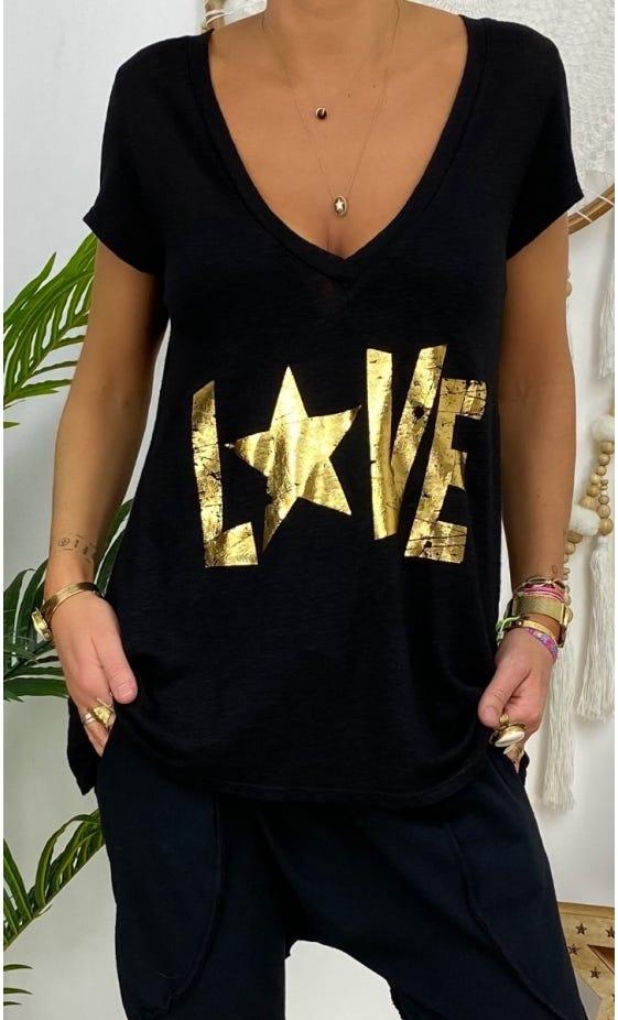 T-Shirt Elio MC Lin Noir Love Or