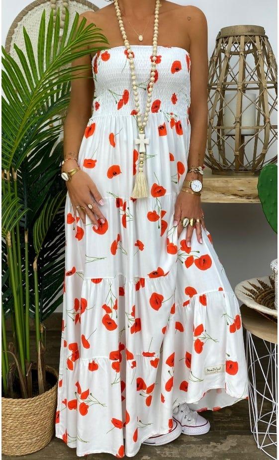 Robe Juliana Blanc Cassé Coquelicot