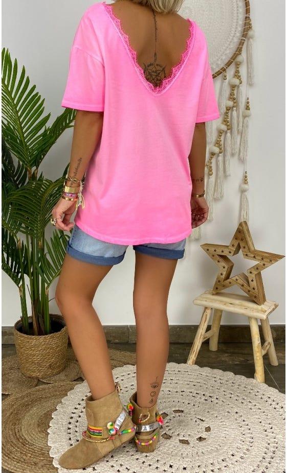 T-Shirt Romane Rose Fluo