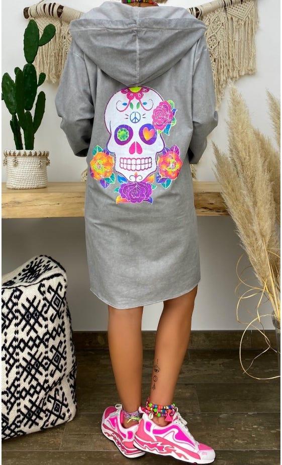 Petite Robe Sweat Kalissy Gris Clair Colorful Skull