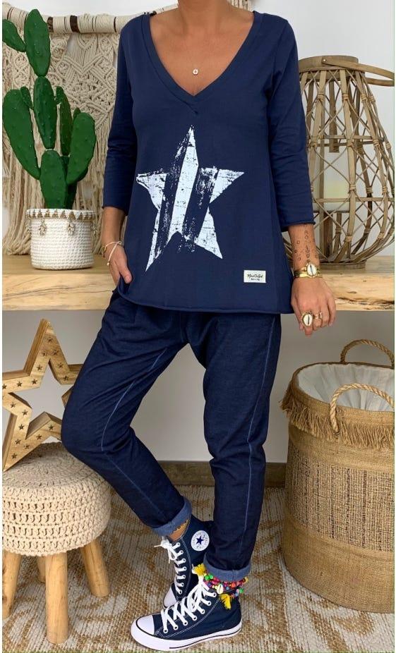 T-Shirt Elio ML Bleu Marine Star Blanc