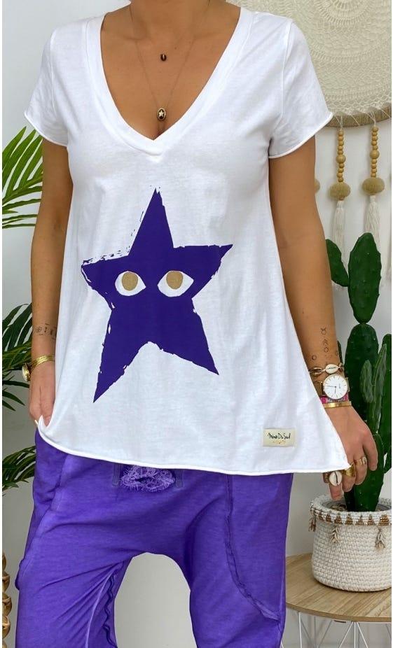 T-Shirt Elio MC Blanc Star Peekaboo Violet