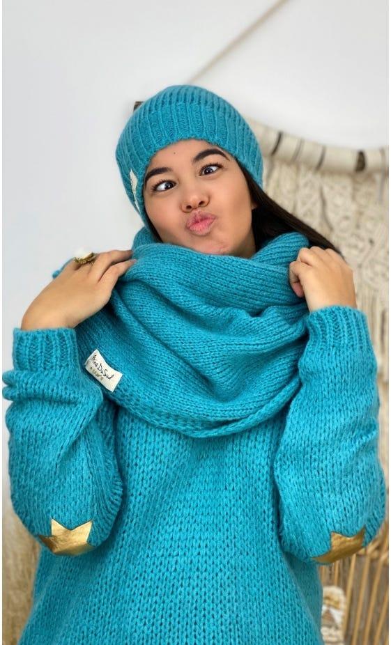 Ensemble Echarpe & Bonnet Bleu Turquoise