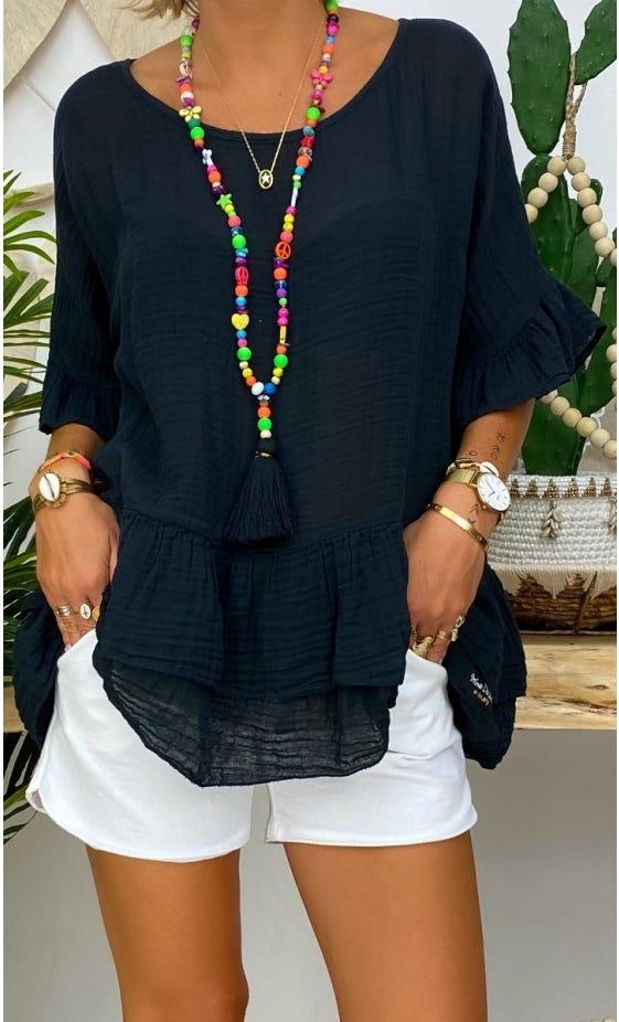 Tunique Alyssa Voile De Coton Noir