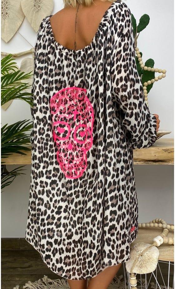 Petite Robe Darcy Voile de Coton Beige Léopard Skull Rose Fluo