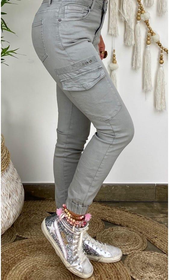 Pantalon Slim Cargo Miguel Gris Clair