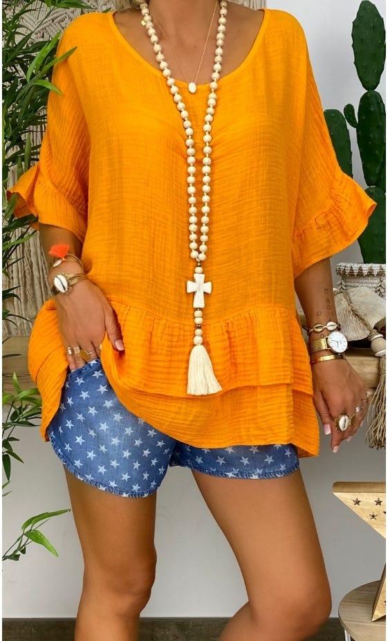 Tunique Alyssa Voile De Coton Orange Délavé