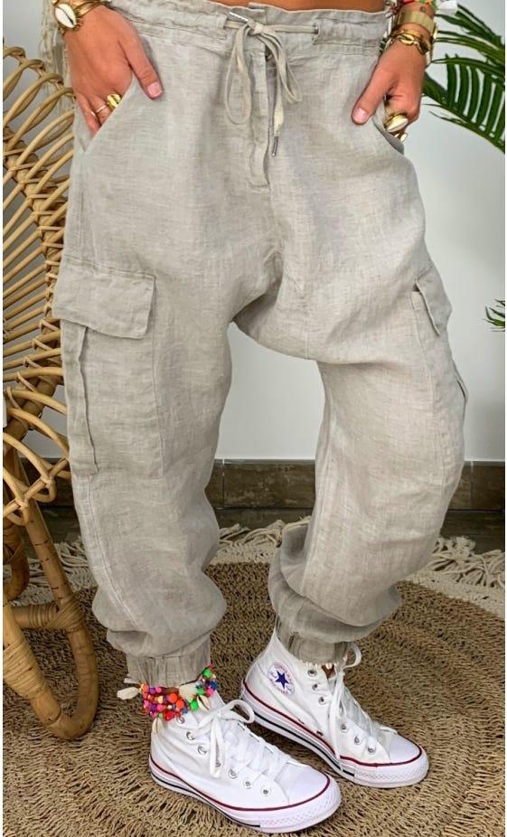 Pantalon Cargo Baggy Ilario Lin Taupe