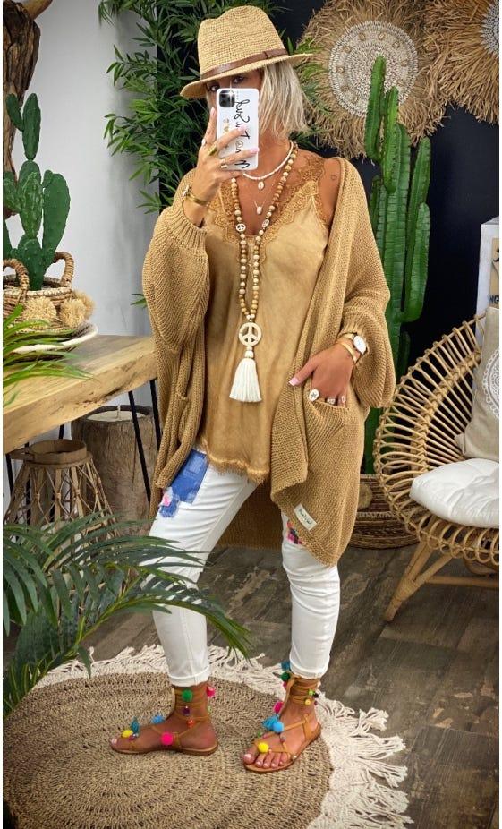 Gilet Paul Oversize Petite Maille Camel