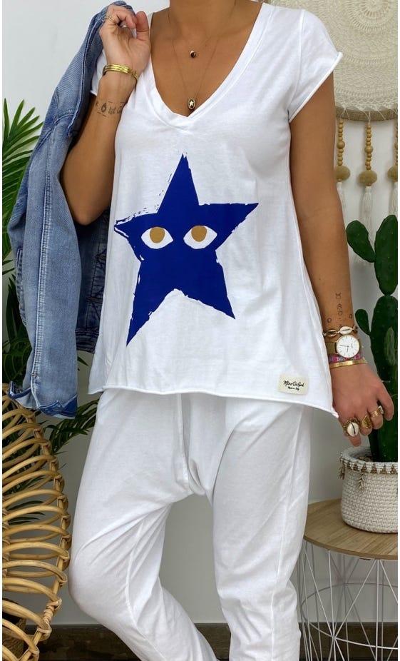 T-Shirt Elio MC Blanc Star Peekaboo Bleu Electrique