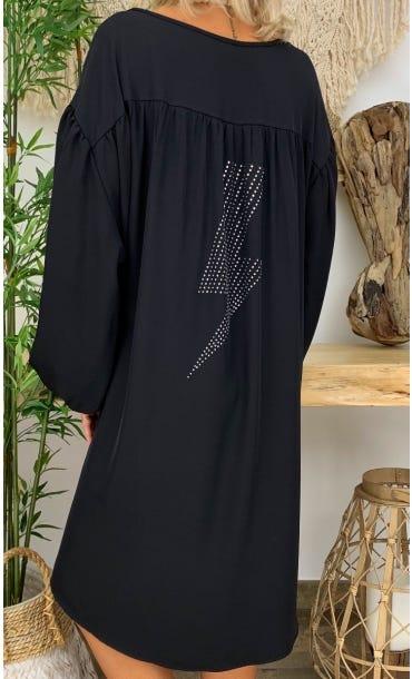 Petite Robe Malou Noir Eclair Strass