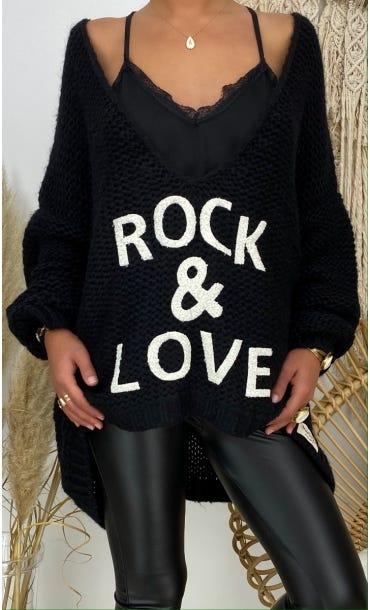 Pull Tony Oversize Noir Rock & Love Blanc