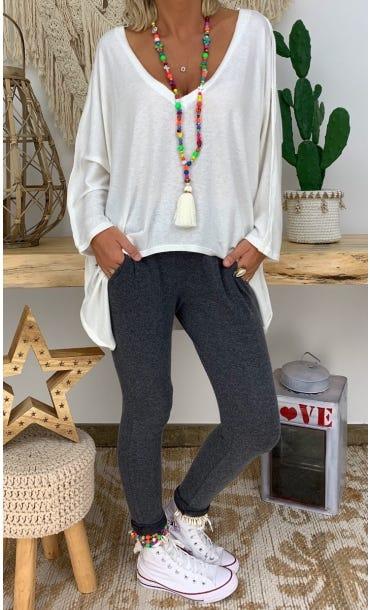 Tunique Anny Maille Doudou Blanc Cassé