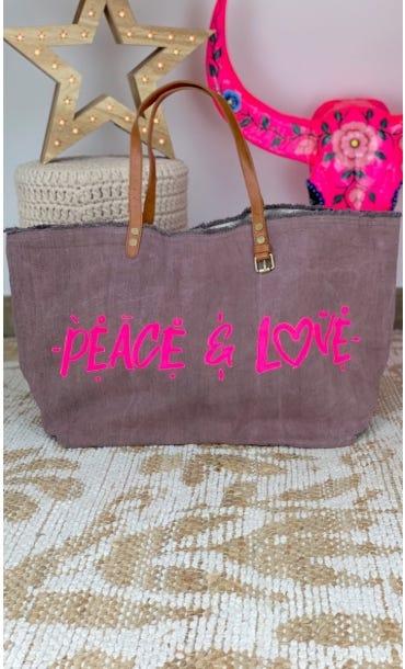Cabas Penida Chocolat Peace & Love Rose Fluo