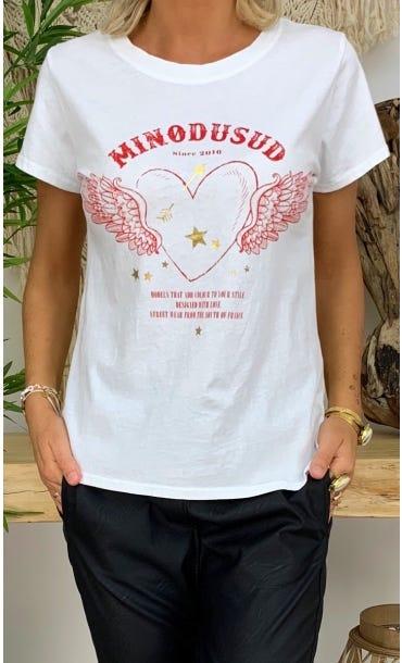 T-Shirt Tomy Blanc Angel Heart