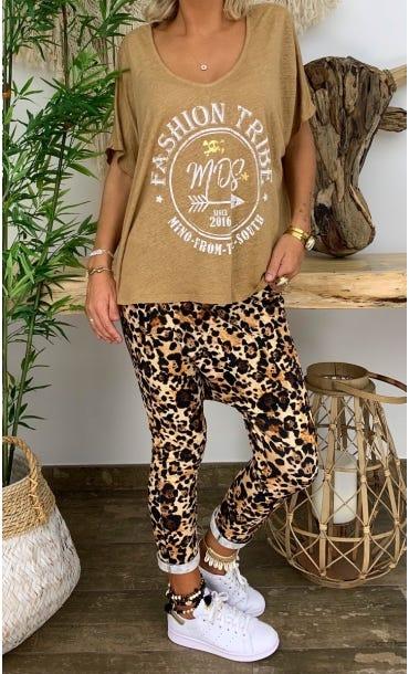 T-Shirt Gabin MC Lin Camel Tribe