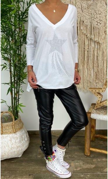 T-Shirt Elio ML Blanc Shooting Star