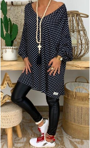 Petite Robe Nina Noir Pois Blanc