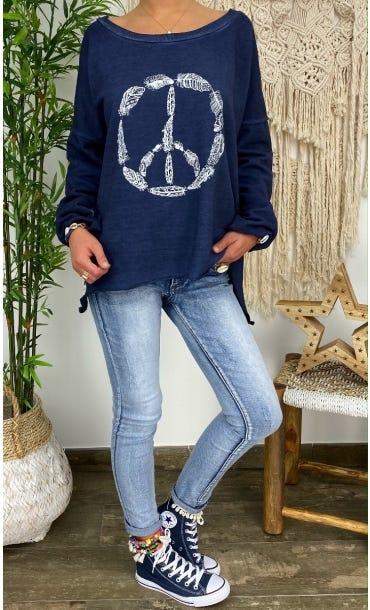 Sweat Matisse Bleu Marine Pluma Peace Blanc