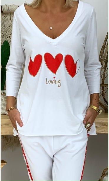 T-Shirt Elio ML Blanc Loving Corazon Rouge