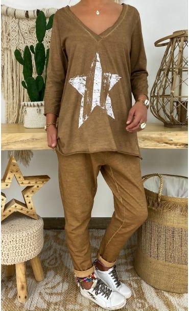 T-Shirt Elio ML Camel Star Blanc