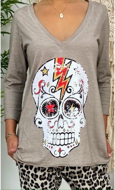 T-Shirt Elio ML Taupe Flash Skull