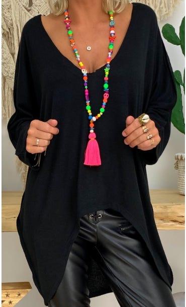 Tunique Anny Maille Doudou Noir