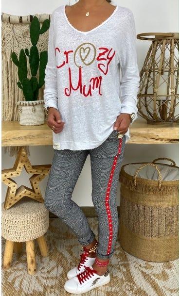 T-Shirt Mylan Blanc Crazy Mum Rouge