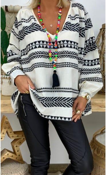 Tunique Nina Oversize Blanc Cassé Aztek Noir