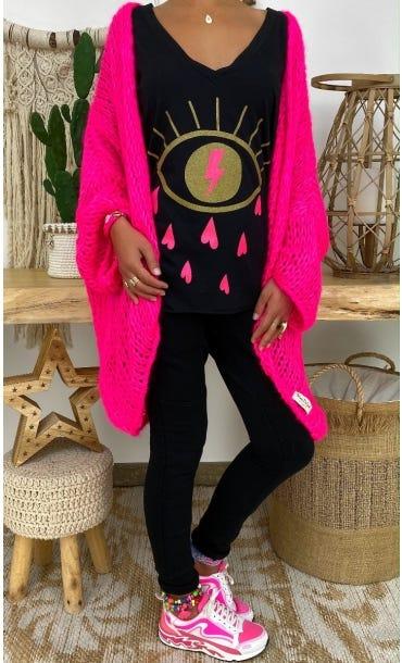 T-Shirt Elio ML Noir Eyelashes Rose Fluo