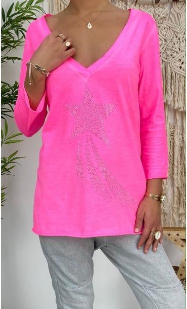 T-Shirt Elio ML Rose Fluo Shooting Star