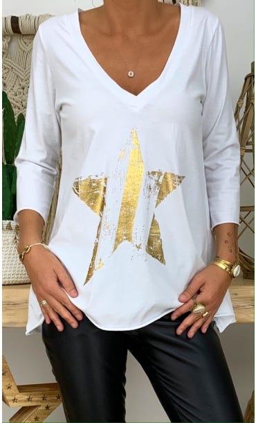 T-Shirt Elio ML Blanc Star Or