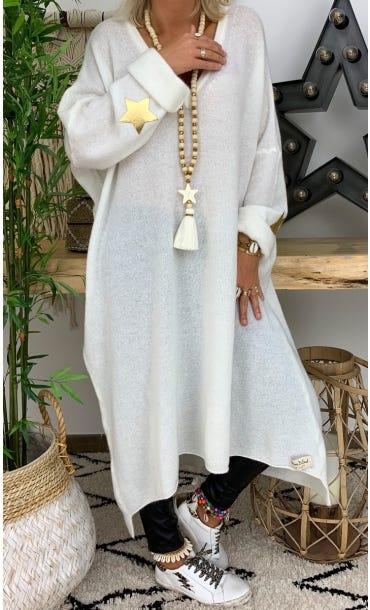 Robe Pull Marius Oversize Blanc Cassé Star Or