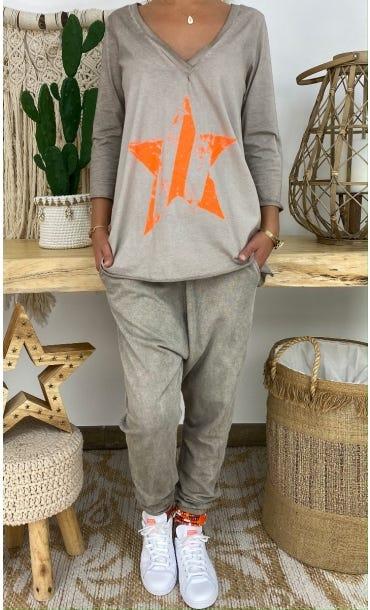 T-Shirt Elio ML Taupe Star Orange Fluo