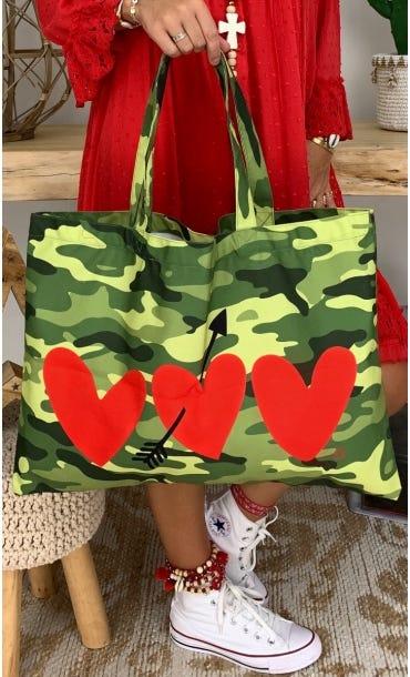 Sac Evan Kaki Camouflage Corazon Rouge
