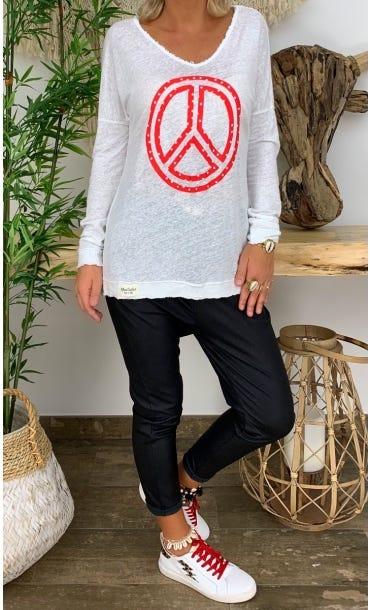 T-Shirt Mylan Blanc Peace Rouge