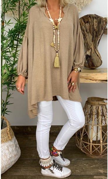 Tunique Faustine Oversize Maille Doudou Camel