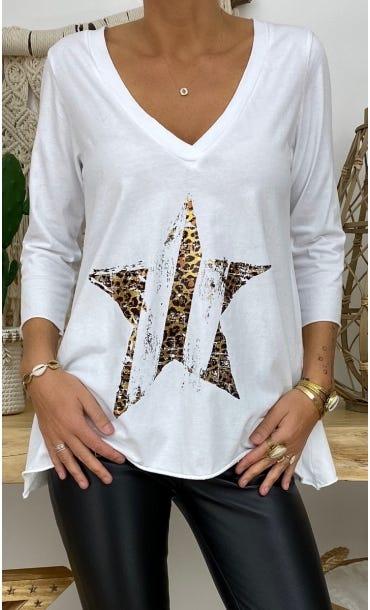 T-Shirt Elio ML Blanc Star Léopard Or
