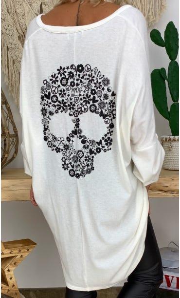 Petite Robe Betty Maille Doudou Blanc Cassé Skull Liberty Noir