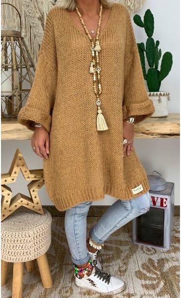 Petite Robe Pull Tayler Oversize Camel