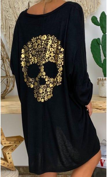 Petite Robe Betty Maille Doudou Noir Skull Liberty Or