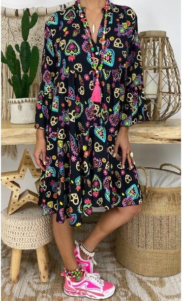 Petite Robe Yanna Noir Paradise Multicolor