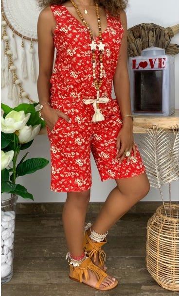 Combi-Short Megan Rouge Wildflowers