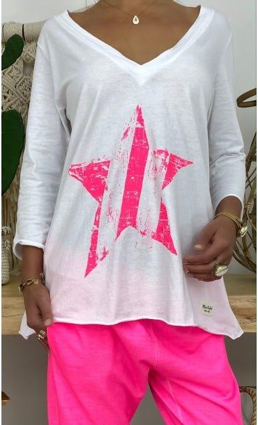 T-Shirt Elio ML Blanc Star Rose Fluo