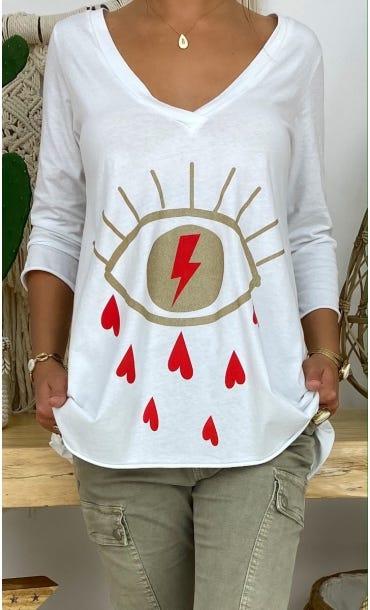 T-Shirt Elio ML Blanc Eyelashes Rouge