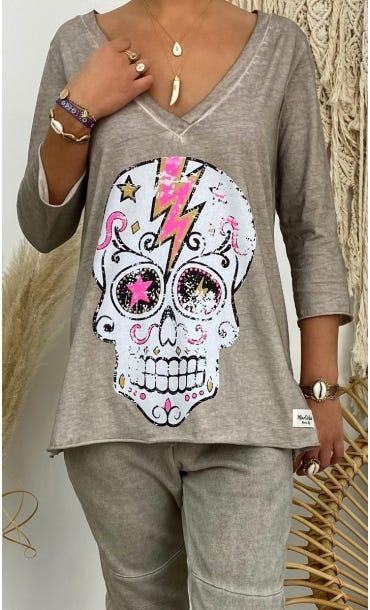 T-Shirt Elio ML Taupe Flash Skull Rose